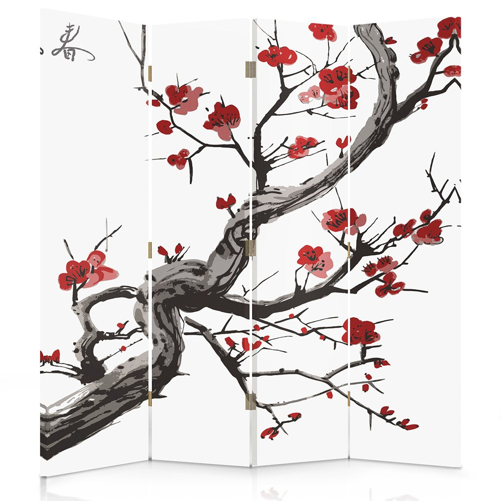 Feeby Frames Canvas Screen, Decorative Room Divider, Paravent, Double sided, 4 panels (145x150 cm) JAPANESE FLOWERING CHERRY, WHITE, RED, BLACK