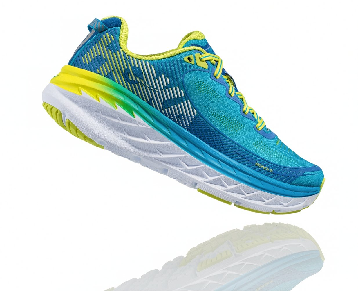 HOKA ONE ONE Bondi 5 Running Shoe - Blue Jewel/Acid - Womens - 6