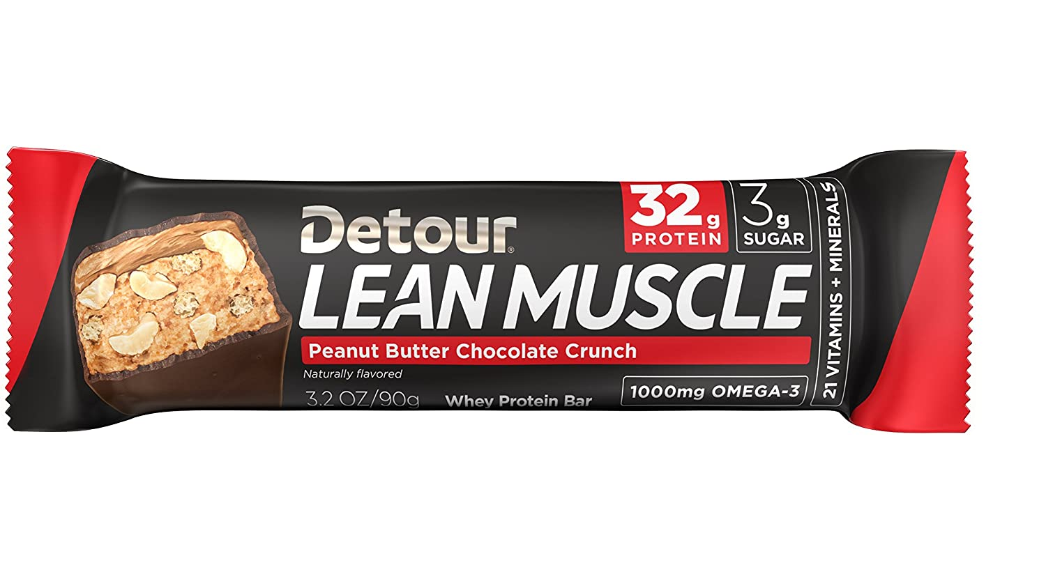 Detour Lean Muscle Peanut Butter Chocolate Crunch 32g protein, Pack of 12