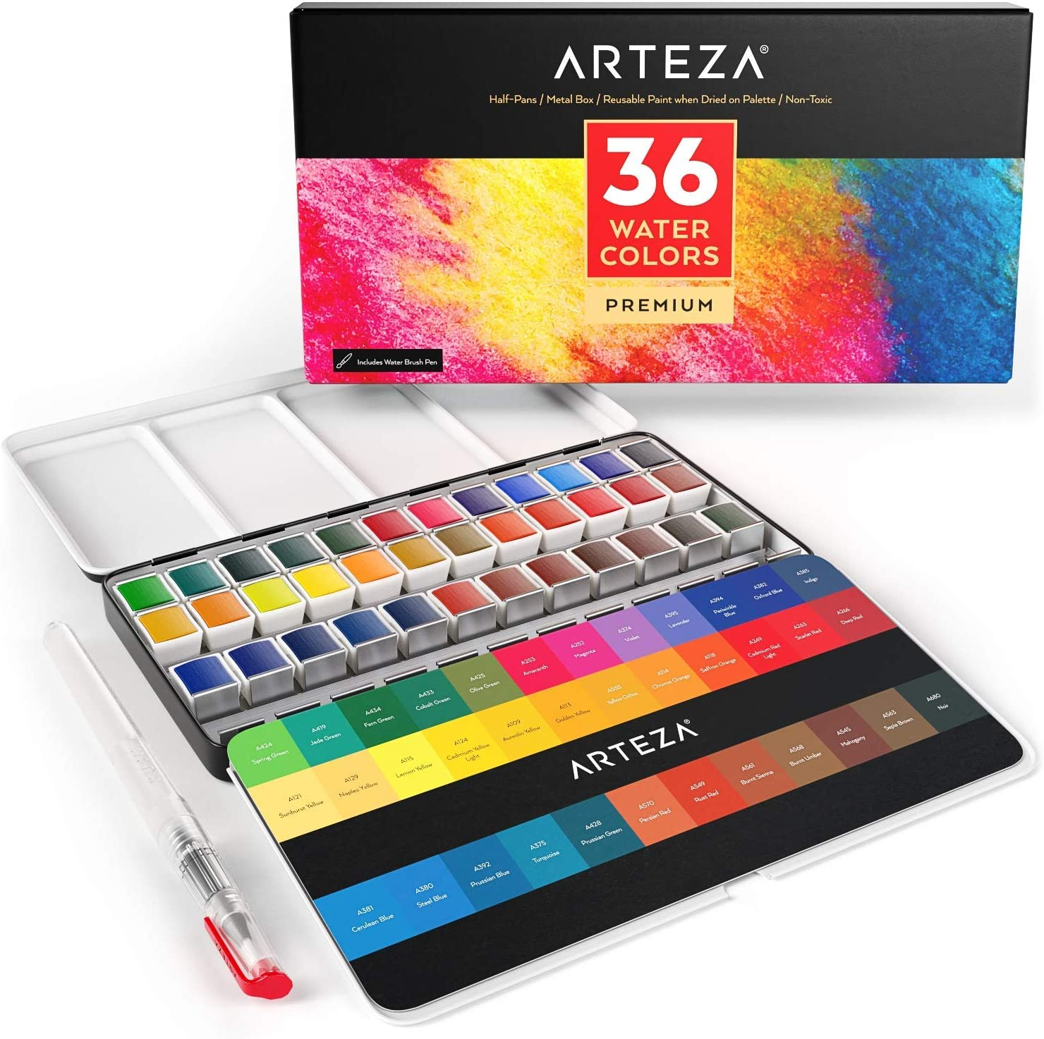 Pintura de acuarela ARTEZA juego  36 colores con pincel