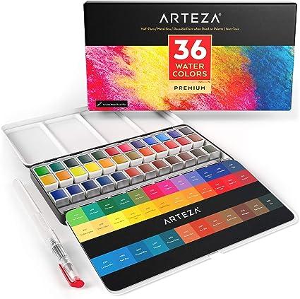 Arteza Estuche de pinturas de acuarela | 36 medias pastillas | 36 Colores surtidos | Incluye 1 pluma de pincel de agua: Amazon.es: Oficina y papelería