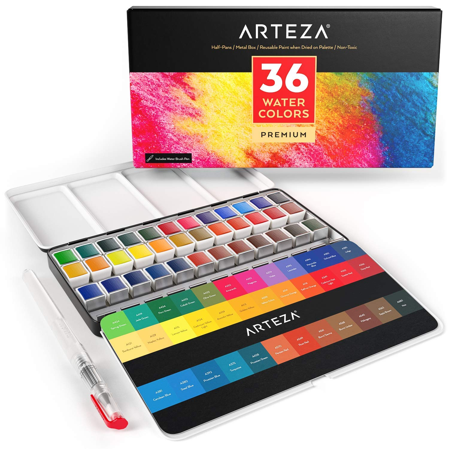 ARTEZA Watercolor Paint, Set of 36 Assorted Vibrant Colors in Half Pans (in Tin Box) with Water Brush Pen for Artists, Art Painting, Ideal for Watercolor Techniques by ARTEZA