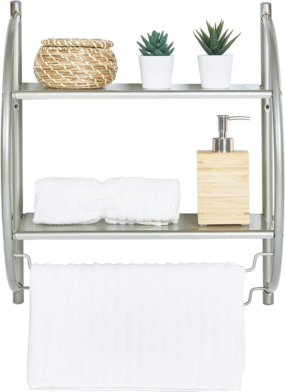 "HomeBase Double Wall Mount Bathroom Shelf with Towel Bars, 18""L X 10""D X 22""H, Satin Nickel Bathroom Shelf, 2 Shelves Wall Organizer, Home Toilet Double Layer Storage Shelf, Rustproof , Towel Shelf"