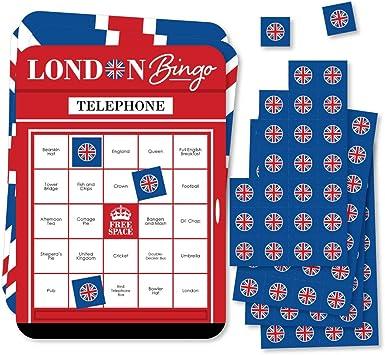 Big Dot of Happiness Cheerio, Londres – Tarjetas de bingo y marcadores – Juego de bingo británico de fiesta – Juego de 18: Amazon.es: Juguetes y juegos