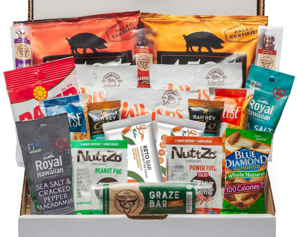Keto Snack Box (20 Count) - Ultra Low Carb Snacks, Ketogenic Friendly, Gluten Free, Low Sugar - Healthy Keto Gift Box Variety Pack - Protein Bars, Pork Rinds, Cheese Crisps, Nuts, Jerky by Cedar Mountain Trade Co.