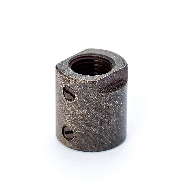 M10x1 Innengewinde Leuchten Verbindungs-Muffe Messing patina mit Stellschrauben