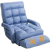 Folding Floor Sofa Bed, Adjustable Lounger Floor Sofa w/ Armrests & Massage Vibration Pillow, Padded Floor Recliner…