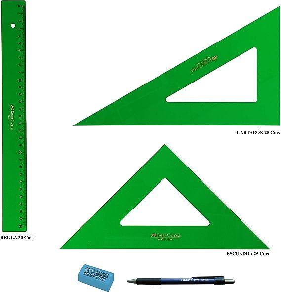 PACK LOTE Faber Castell Técnico - Regla 813-30 Cms + Escuadra 566-25 Cms + Cartabón 666-25 Cms + REGALO: Amazon.es: Oficina y papelería