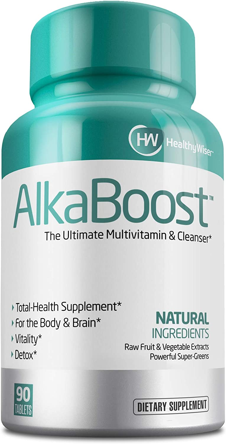 Alka Boost MultiVitamin for Healthy pH Balance, Alkaline Booster Immune System Support. Natural Detox – Promotes Energy Clarity and Focus – Green and Wholefood Blend, 90ct