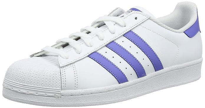 adidas Superstar Schuhe Herren Low-Top Weiß mit lila Streifen