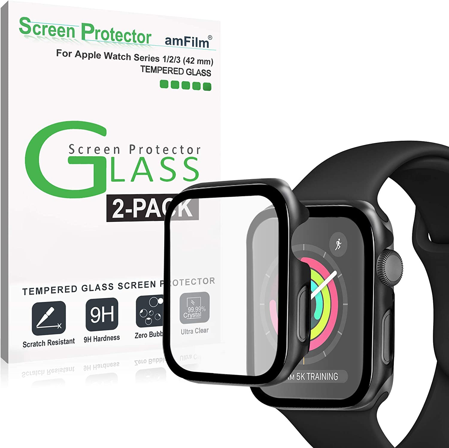 amFilm Case with Built-in Tempered Glass Screen Protector Compatible with Apple Watch Series 3/2/1 (42mm), 2 Pack