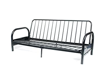 roundhill furniture black metal futon frame full