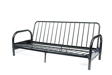 Amazon.com: Roundhill Furniture Black Metal Futon Frame, Full ...