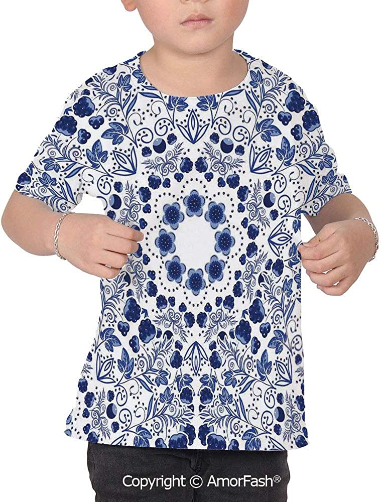 PUTIEN Flower Lovely Printed T-Shirts,Crew Neck T-Shirt of Girls,Polyester,Middle Easte