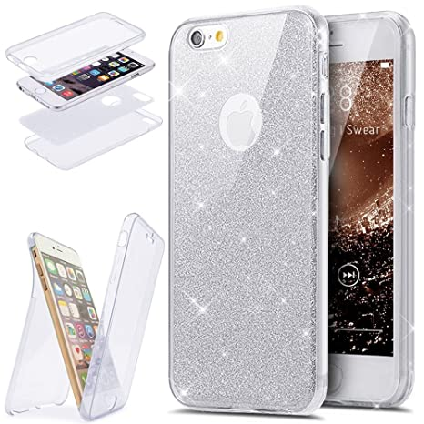 Funda iPhone 6/6S Plus 360 Grado Integral Ambas Carcasa,ETSUE iPhone 6/6S Plus Funda 360 Full Body Completa Cas + Glitter Brillante Paillettes 3 en 1 ...