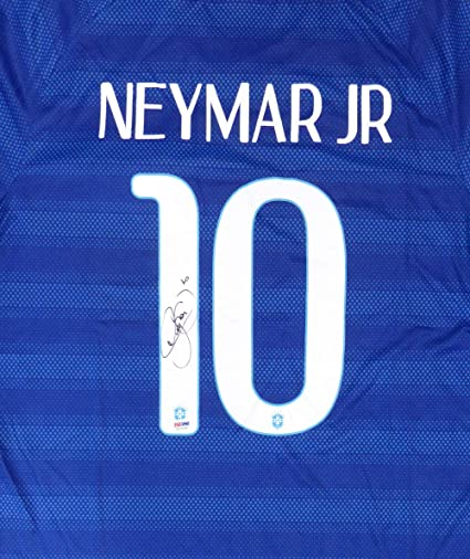 17afb56939b Neymar Jr. Signed Auto Brazil CBF Nike Authentic Blue Jersey Size XL - PSA DNA  Authentic at Amazon s Sports Collectibles Store