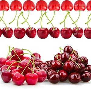 60 Pieces Simulation Cherries Plastic Artificial Fake Cherries, Simulation Fake Cherry Artificial Fruit Plastic Cherry Lifelike Red Cherries Decor Fake Fruit for Wedding, Photography Prop