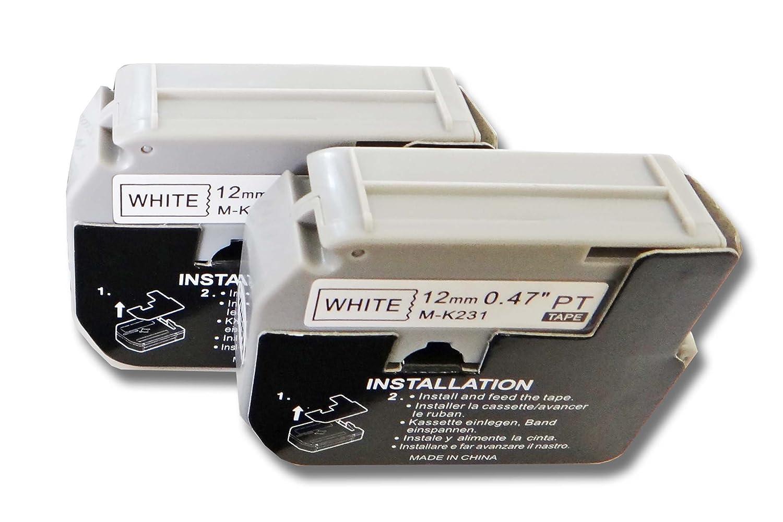 vhbw 2 x Cassette Cartouche Ruban 12mm pour Brother P-Touch PT-80, PT-80SCCP, PT-85, PT-90 comme Brother M-K231.