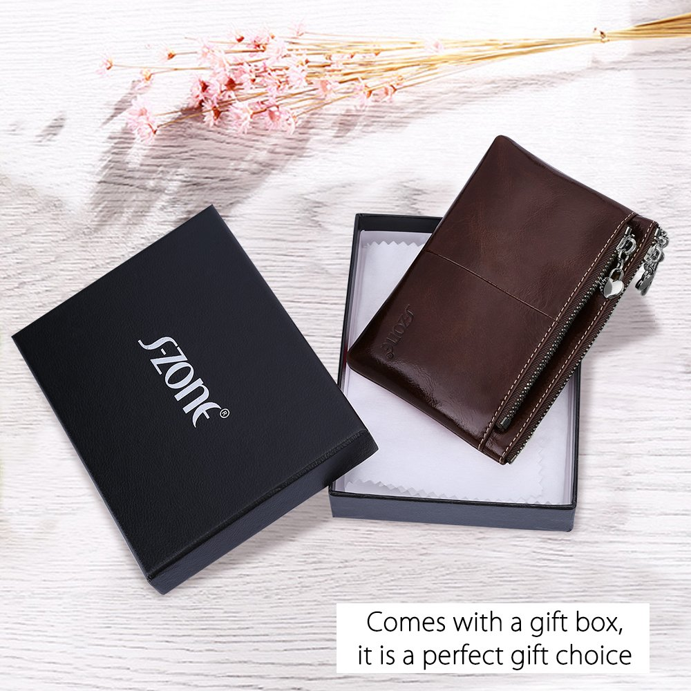 S-ZONE Womens Genuine Leather Mini Wallet Change Coin Purse Card Holder with Key Ring