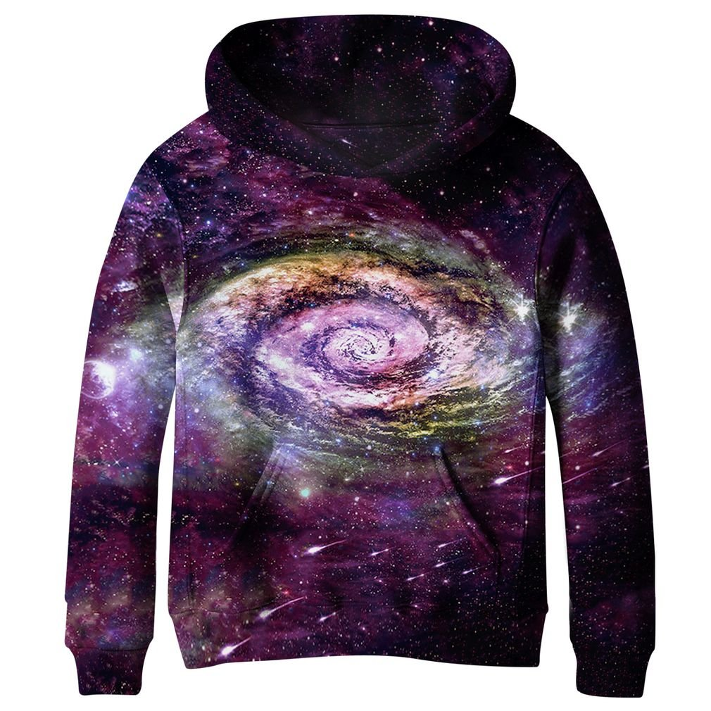 SAYM Big Girls Galaxy Fleece Pockets Sweatshirts Jacket Pullover Hoodies NO7 XL by SAYM