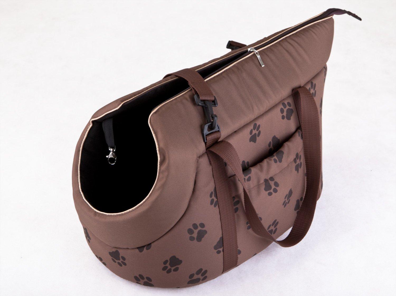 Hobbydog Bolsa de Transporte para Perros y Gatos Talla 1 Color marr/ón Claro con impresi/ón de Patas