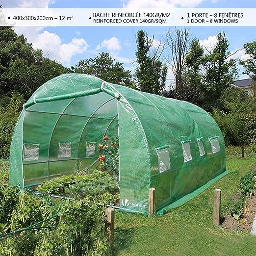VOUNOT Invernaderos Jardin, Tunel Invernadero Huerto prar Plantas, Ubo de Acero y Plastico, Impermeable, 4 x 3 x 2 m, 12 m², Verde: Amazon.es: Jardín