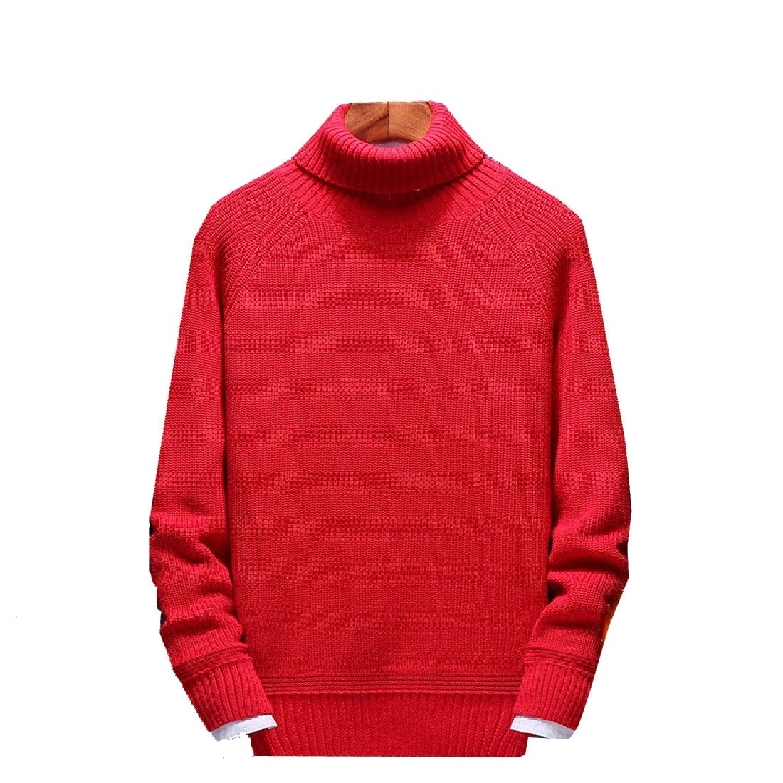 YUNY Mens High Neck Trench Thick Long Sleeve Solid Color Sweater Red S