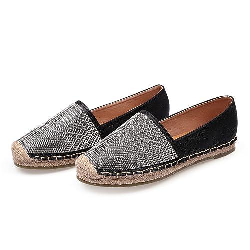 Refuelr Zapatos de niña Alpargata Zapatos de Mujer Zapatos de cáñamo Inferior Rhinestone Otoño Mocasines de Cristal Bling: Amazon.es: Zapatos y complementos