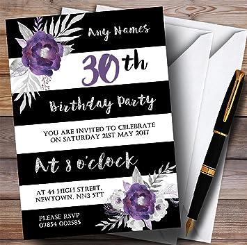Amazon 10 x black white silver purple flower 30th customized 10 x black white silver purple flower 30th customized birthday party invites 30th birthday personalized filmwisefo