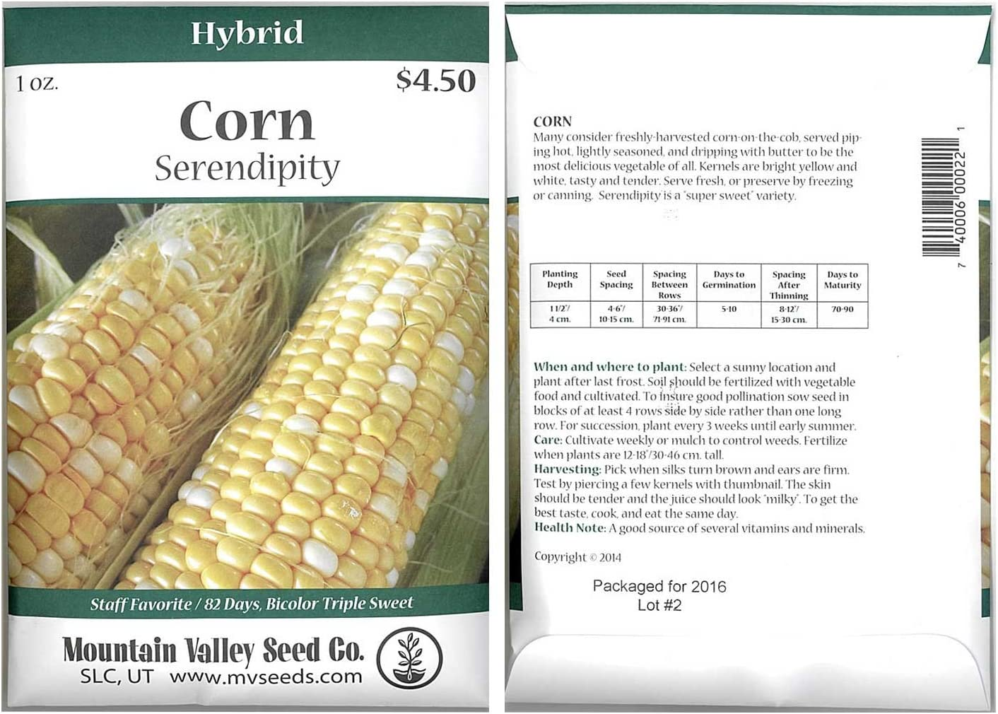 Serendipity Hybrid Triplesweet Corn Garden Seeds - 1 Oz Packet ~175 Seeds - Non-GMO Vegetable Gardening Seeds - Bicolor Triple Sweet Corn