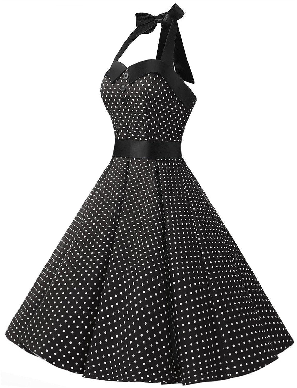 Amazon.com: Dressystar Vintage Polka Dot Retro Cocktail Prom Dresses ...