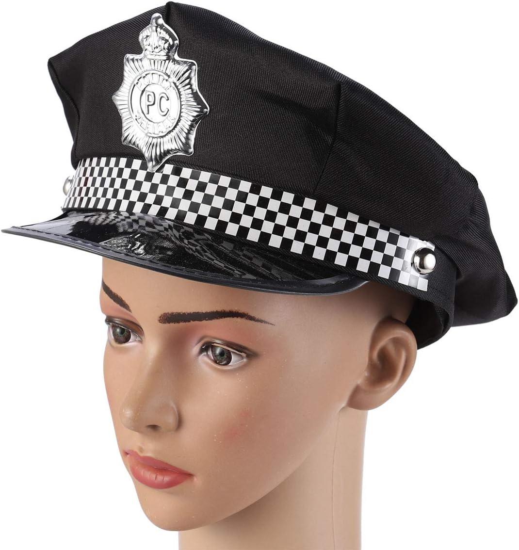 Amosfun Gorro de Policía Sombrero de Policía Gorros de Disfraz ...