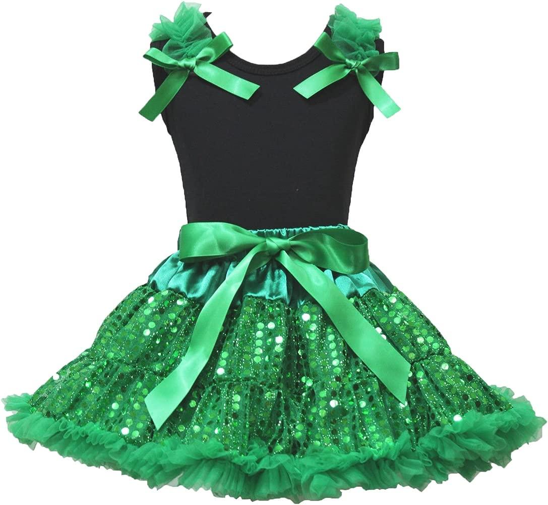 St Patricks Day Negro Camisa verde Bling Pettiskirt de lentejuelas ropa de niña 1 - 8Y: Amazon.es: Ropa y accesorios