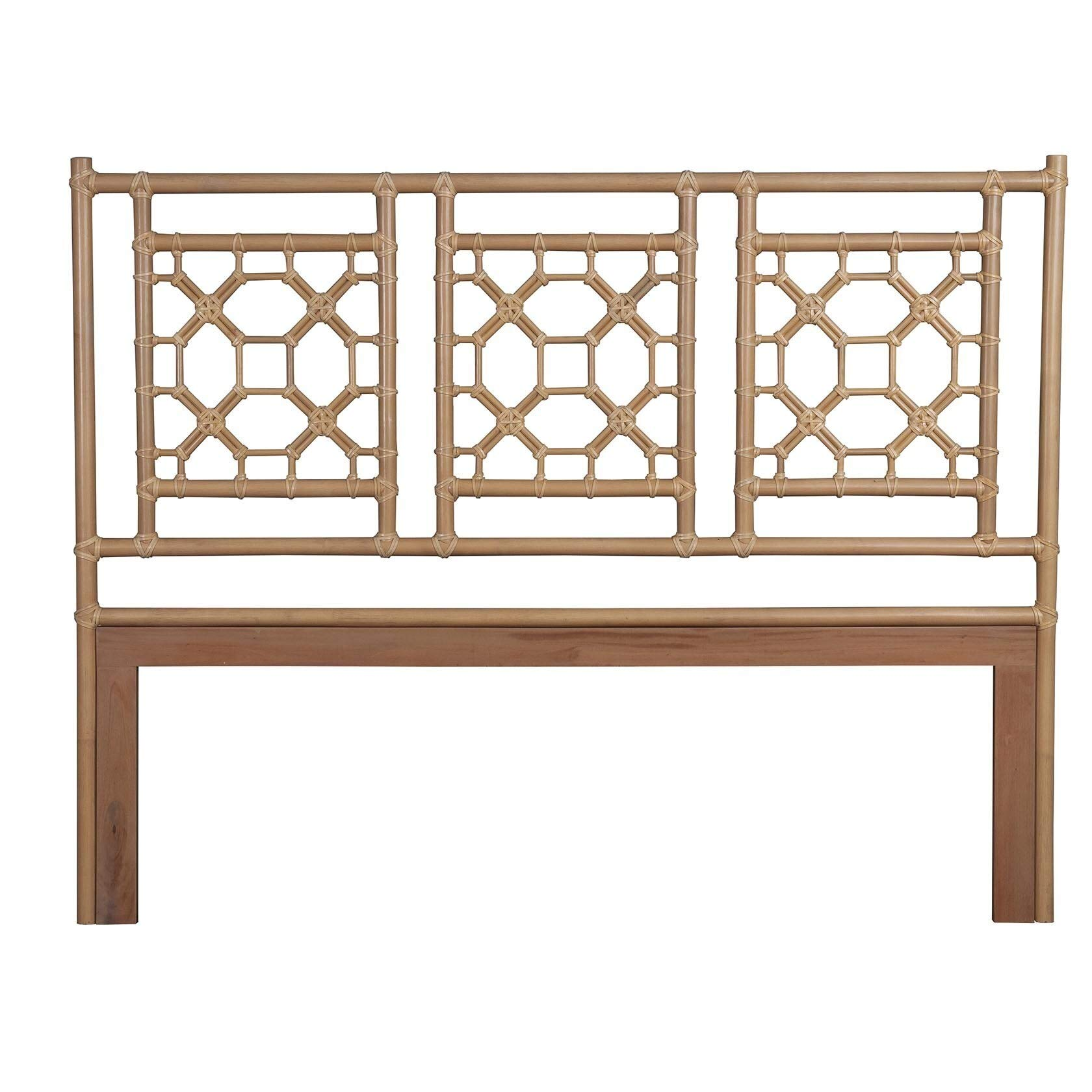 East at Main's Granby Natural Modern Lattice King Headboard Cream Off-White Transitional Rattan Wood Reclaimed Textured Finish by Unknown