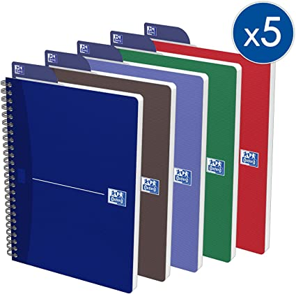 Oxford Essentials - Pack de 5 cuadernos doble espiral, tapa blanda ...