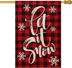 AVOIN Watercolor Buffalo Plaid Let it Snow House Flag Vertical Double Sized, Christmas Winter Holiday Farmhouse Yard Outdoor Decoration 28 x 40 Inch