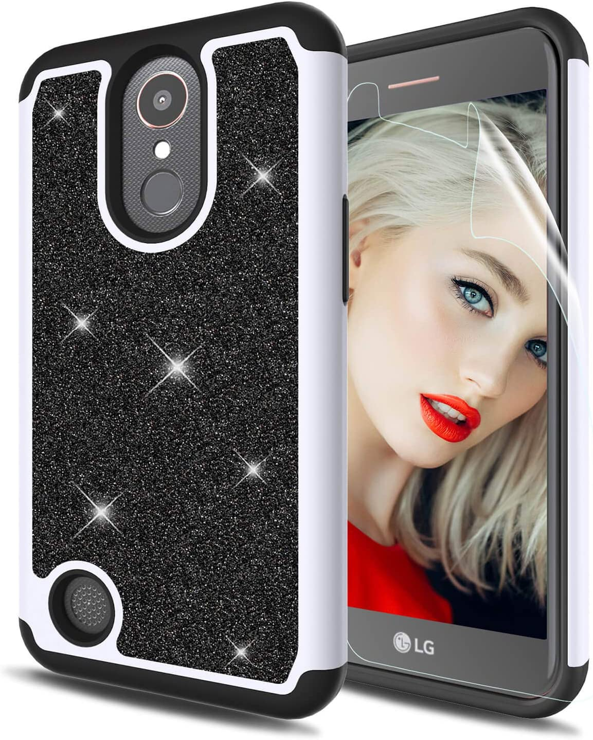 HenSun LG K20 Plus Glitter Case LG K20V K20 V,LG Harmony/LG Grace/LG VS501/LG K10 2017 Phone Case with Screen Protector,2 in 1 Shockproof Protective Girls Women Hard Back Soft Bumper Case-Black