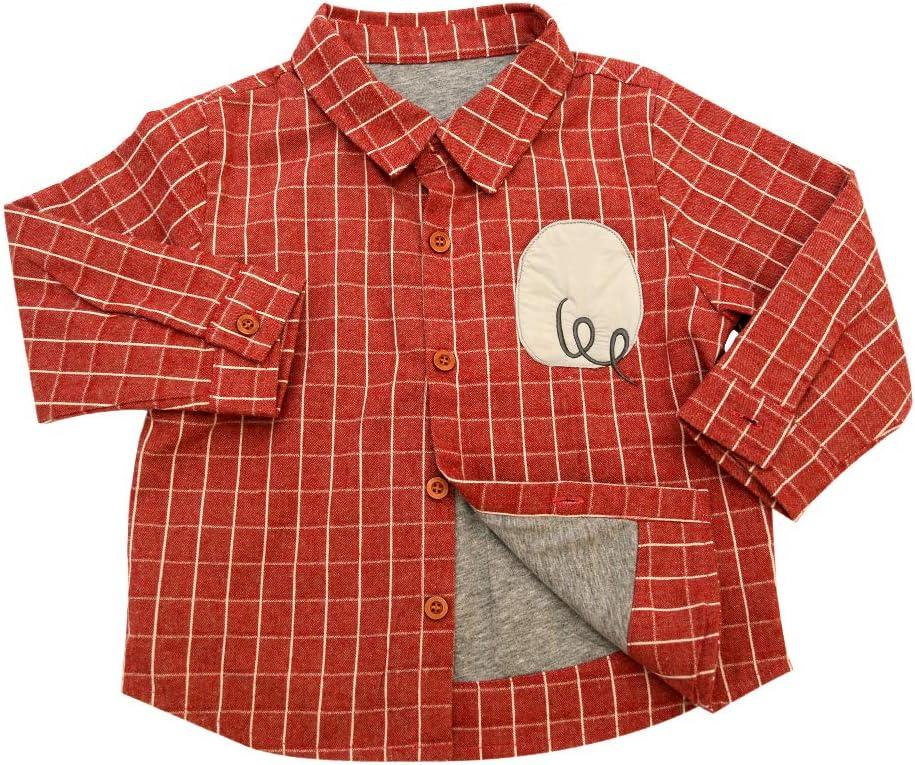 قميص Aimama للأطفال الصغار بأكمام طويلة بزر سفلي منقوش قميص بلوزة بنمط مربعات شيربا مبطن بالقطن جاكيت سائق شاحنة لسن 18-6Y