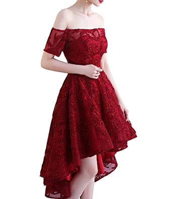 Alanre Off The Shoulder Cap Sleeves Lace Corset Prom Dress for Women  Homecoming Dress High Low c33dbc832