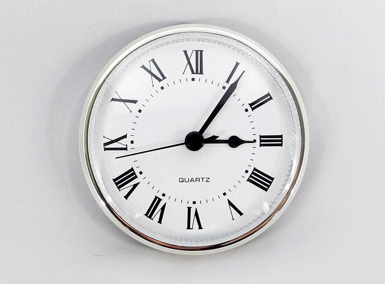 Amazoncom Clock Fitup 3 12 Roman Numerals On White Dial Silver - 3-roman-numerals-clocks