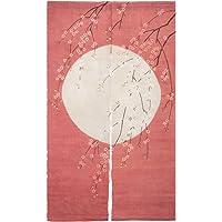 NeoConcept Plate Printed Japanese Sakura Noren Linen Doorway Curtain 59x33.45 (Coral)