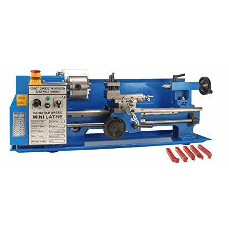 Erie Tools 7 x 14 Precision Bench Top Mini Metal Milling Lathe Variable Speed 2500 RPM & Digital Readout with 5 pc. Cutter Kit