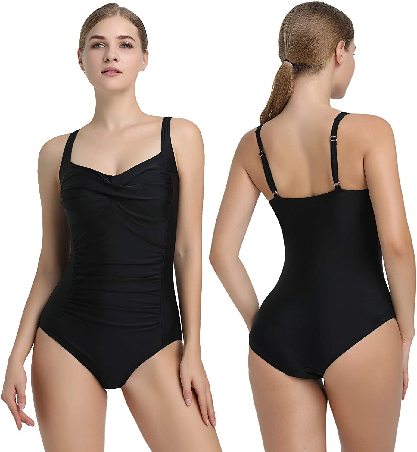 Amorbella Womens One Piece Swimsuit Ruched Tummy Control Bathing Suit Retro Vintage Swimwear