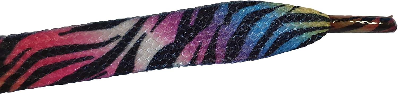 Fat-catz-copy-catz 1 paio di lacci lunghi e piatti con motivo zebrato arcobaleno lunghezza 115 cm