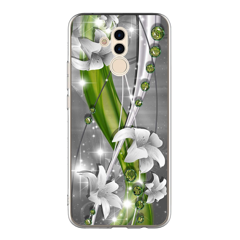 Vine Violet Rose Vert Etui Cr/éatif Silicone Diamant Bling TPU Mince L/éger Souple Professionnel Nouveau Housse Protecteur 3x Coque pour Huawei Mate 20 Lite