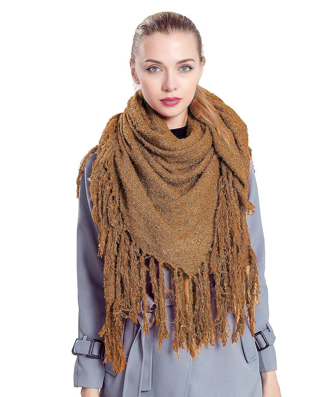 Superora Bufanda para Mujer Invierno Chal Manta Mantón Fular Grande Enorme con Borlas 150 * 170cm