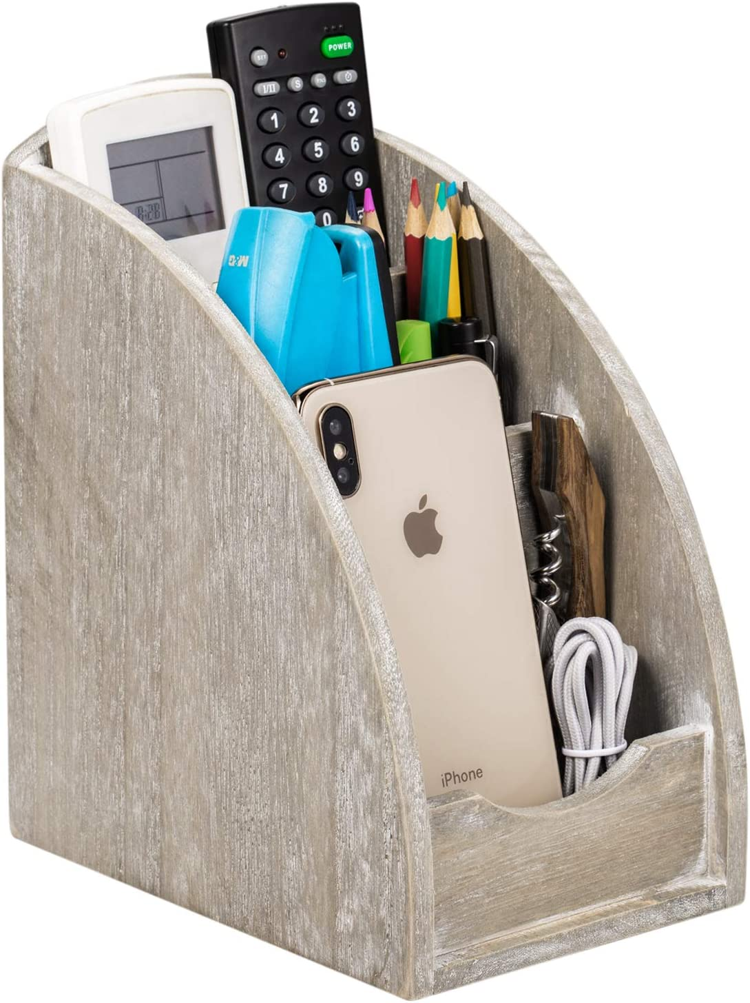 NEX Remote Control Holder, 3 Slot Wooden Remote Control Caddy Media Organizer, Office Supply Storage Rack(Rustic Gray)