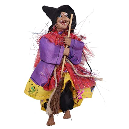 Yellow AMOSFUN Halloween Decoration Hanging Witch Horror Hanging Flying Witch Figurine Ornaments Pendant for Patio Lawn Garden Holiday Party