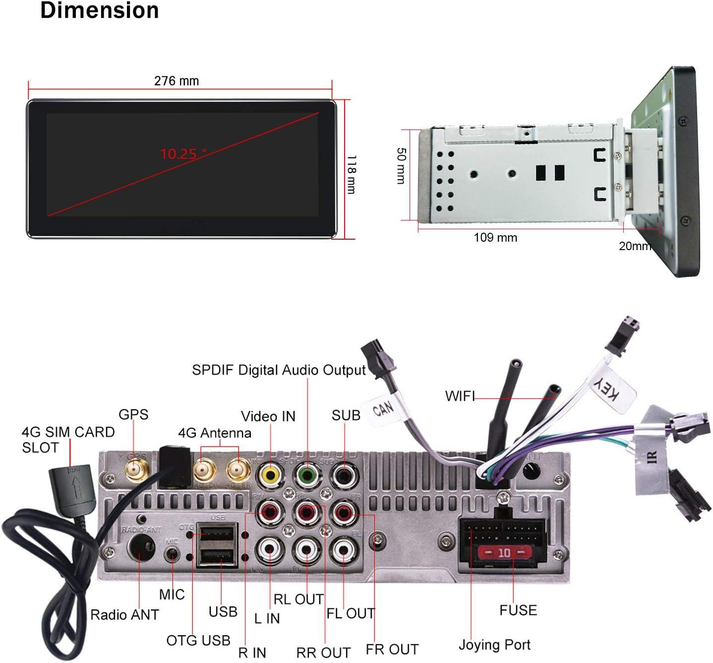 64GB Octa Core 10.25 inch Single Din In-dash Head Unit with Zlink ...