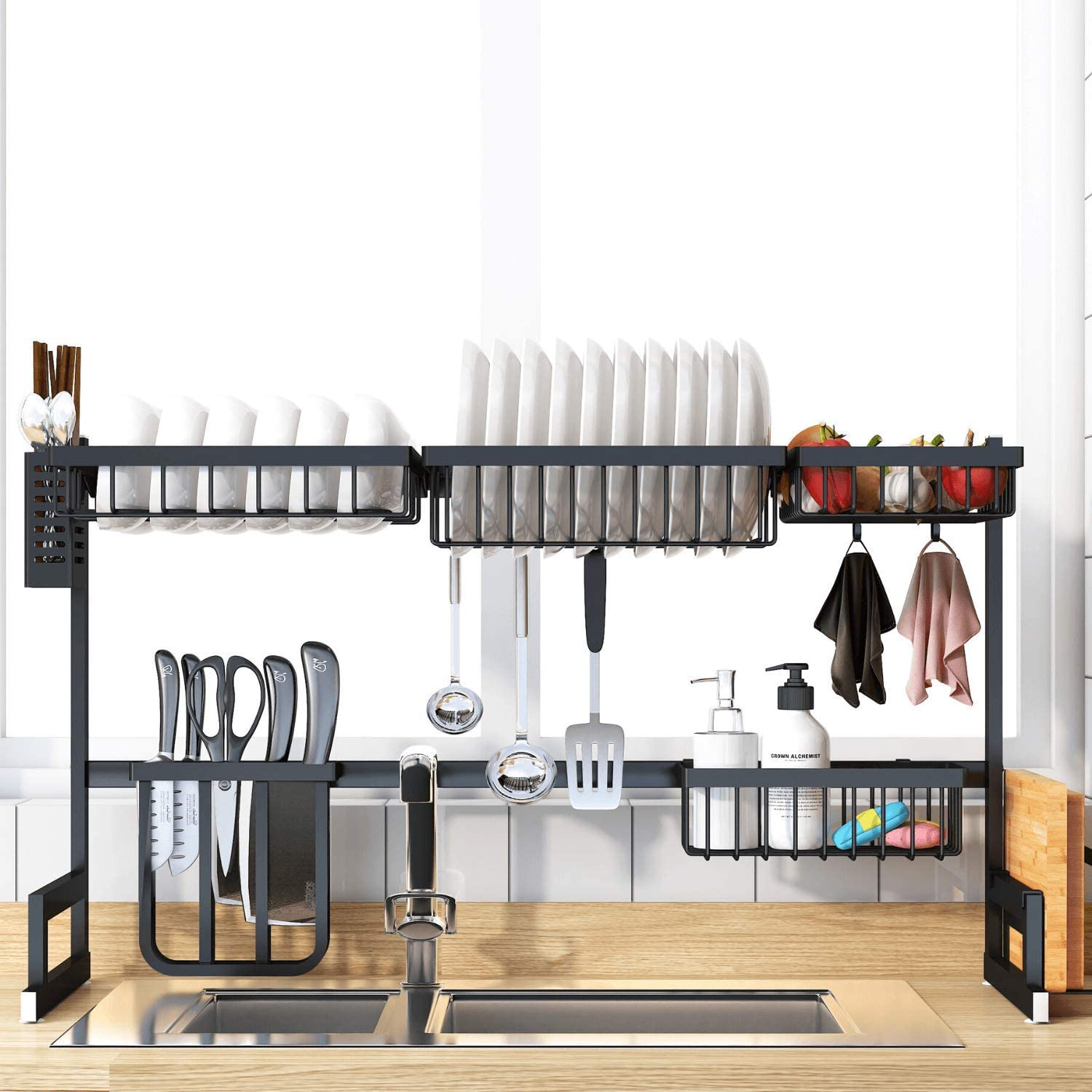 Dish Drying Rack Over the Sink, Stainless Steel Drainer Organizer Shelf for Kitchen Supplies and Countertop Space Saver with Fully Customizable, Large Capacity (Black, Sink Size ≤ 33.5 inch)